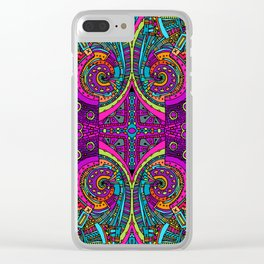 Vintage Cool and Colorful Bohemian Boho Hippie Hanging Blacklight Style Pattern Clear iPhone Case