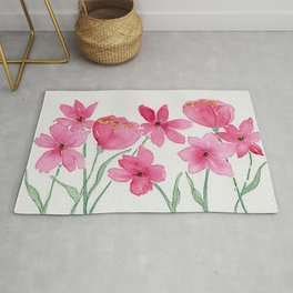 Hot Pink and Magenta Watercolor and Ink Wildflowers Rug