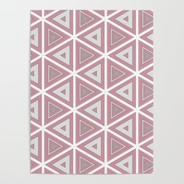 Bright White and Pink Triangle Pattern Poster