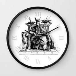 Odin on his throne Huginn Muninn ravens Viking Sagas Wall Clock