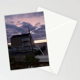 purple sunset in lbi Stationery Cards