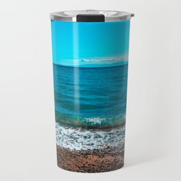 Blue sea at Greece with stony beach Travel Mug