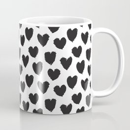 Black and White heart brush stroke abstract pattern Coffee Mug