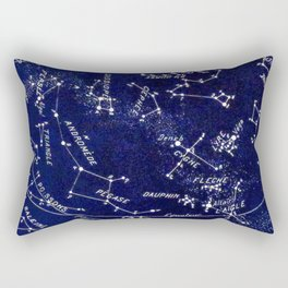 French October Star Map in Deep Navy & Black, Astronomy, Constellation, Celestial Rectangular Pillow