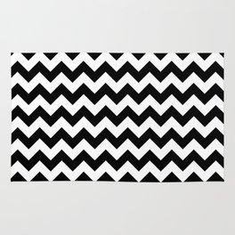 Black and White Chevron Print Rug