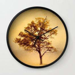 Amber Gold Cotton Field Tree Wall Clock