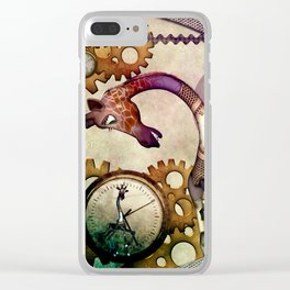 Funny giraffe, steampunk with clocks and gears Clear iPhone Case