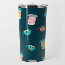 Happy coffee cups and mugs in dark-blue background Travel Mug