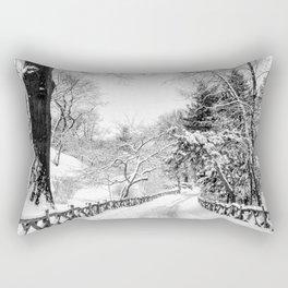Central Park Winter Path in Shakespeare Garden Rectangular Pillow