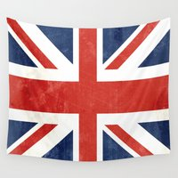 union jack Wall Tapestries featuring Union Jack by Laura Ruth