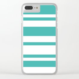 Mixed Horizontal Stripes - White and Verdigris Clear iPhone Case