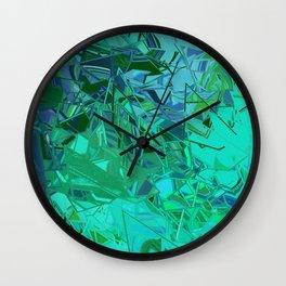 Blue Green Fractured Paint Swirls Wall Clock