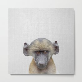 Baby Baboon - Colorful Metal Print