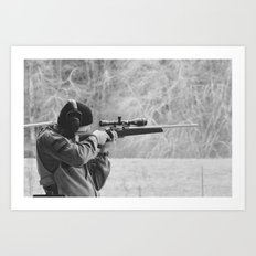 Young Shooter-B&W Art Print