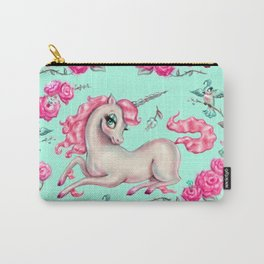 Unicorns and Roses on Mint Carry-All Pouch