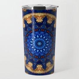 Royal Blue Gold Mandala Design Travel Mug