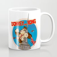 donkey kong Mugs featuring Donkey King Kong by Vickn