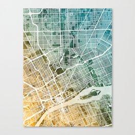 Detroit Michigan City Map Canvas Print