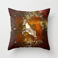 reindeer Throw Pillows featuring Reindeer by nicky2342