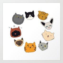 cute cat doodles circle #4 Art Print