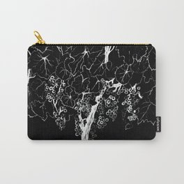 White ink, black cardboard. Vine trees. Grapes. White ink Carry-All Pouch