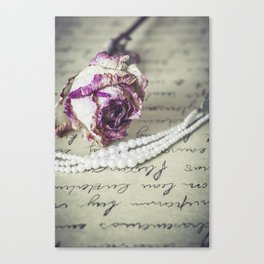 love letter with pearls and rose Canvas Print