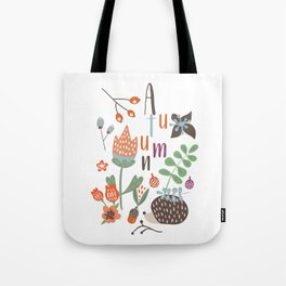 Hedgehog Autumn Garden Tote Bag