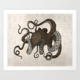 Brown Octopus Art Print