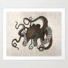 Brown Octopus Art Print