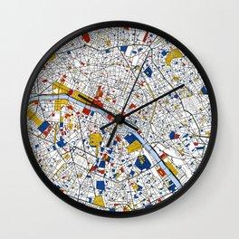 Paris Mondrian Map Art Wall Clock