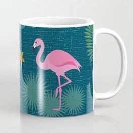 Bohemian nonchalance tropical flamingo pattern on dark background Coffee Mug