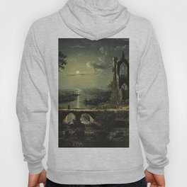 Classical Masterpiece 'A Ruined Gothic Church beside a River by Moonlight' by Sebastian Pether Hoody
