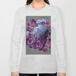 PURPLE AMETHYST WHITE QUARTZ CRYSTALS Long Sleeve T-shirt