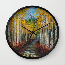 Nelly Creek painting of Uncompahgre National Forest Wall Clock