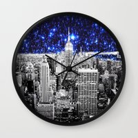 new york city Wall Clocks featuring new york city. Blue Stars by 2sweet4words Designs
