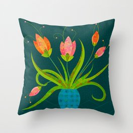 Tulips in Blue Vase on Inky Teal Throw Pillow