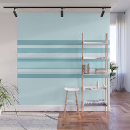 Striped Band - Retro Ice Blue Wall Mural