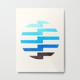 Minimalist Mid Century Circle Frame Cerulean Blue Zig Zag Colorful Lightning Bolt Geometric Pattern Metal Print