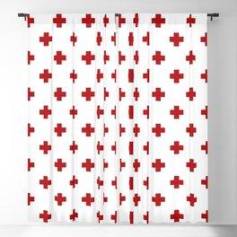 Red Swiss Cross Pattern Blackout Curtain