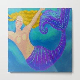 Swimming Blonde Mermaid Metal Print