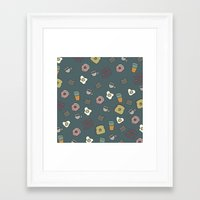 70s Framed Art Prints featuring 70S Cafe by Calepotts