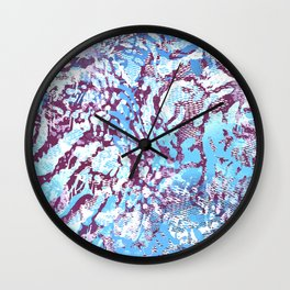 animal skin layers textured in teal and deep purple Wall Clock