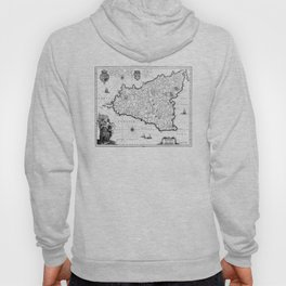 Vintage Map of Sicily Italy (1600s) BW Hoody