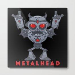 Metalhead - Heavy Metal Robot Devil - With Text Metal Print
