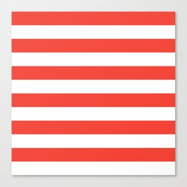 Even Horizontal Stripes, Red and White, L Canvas Print