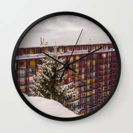 Mountain architecture colorful Wall Clock