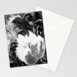 Purple Peonies in Gold with Red - Black and White Stationery Cards