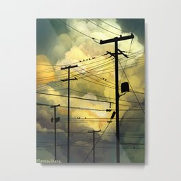 Telephone wires with green clouds Metal Print