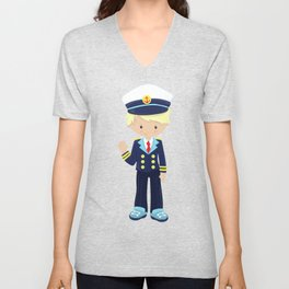 Cute Boy, Boat Captain, Skipper, Blond Hair Unisex V-Neck