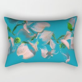 Dogwood Tree Flowers (aqua background) Rectangular Pillow